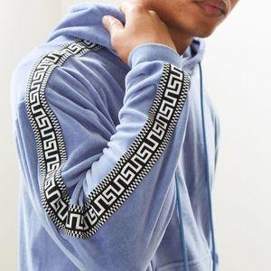 UO Velour Jacquard Tapered Hoodie sweatshirt M